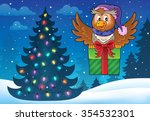 owl with gift theme image 5  ... | Shutterstock .eps vector #354532301