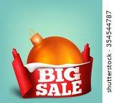 big golden christmas ball in... | Shutterstock .eps vector #354544787
