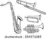brass instruments doodles set...