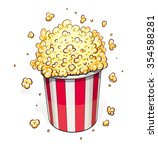 popcorn in striped basket.... | Shutterstock .eps vector #354588281