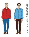two men. a man in a shirt and... | Shutterstock .eps vector #354600644