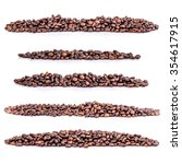 set pile of coffee beans on... | Shutterstock . vector #354617915