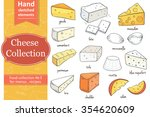 collection of cut sliced cheese ... | Shutterstock .eps vector #354620609