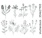 floral set. hand drawn flowers... | Shutterstock .eps vector #354627905