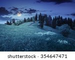 few trees on agricultural meadow with flowers on  hillside near forest in morning light at night in full moon light - stock photo