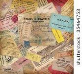 vintage travel background made... | Shutterstock . vector #35464753