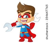 superhero carrying a wrench | Shutterstock .eps vector #354647765