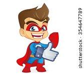 superhero giving likes | Shutterstock .eps vector #354647789