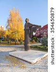 Small photo of SAMARA, RUSSIA - OCTOBER 10, 2014: Monument to famous Russian poet Alexander Pushkin