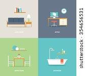 interior room types furniture... | Shutterstock .eps vector #354656531