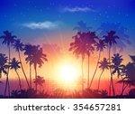 Vector Ocean Sunset Sky With...