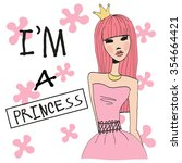 sketch of fashion princess... | Shutterstock . vector #354664421