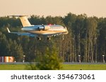 Small photo of Moscow, Russia - September 05, 2014: Bombardier Challenger 605 VistaJet OE-INE landing at the Vnukovo International airport.