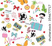 cute  pattern vector with  bows ... | Shutterstock .eps vector #354677717