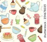 seamless vector breakfast... | Shutterstock .eps vector #354678335