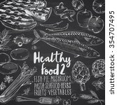 healthy food doodles on... | Shutterstock .eps vector #354707495