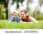 mother and son having fun... | Shutterstock . vector #35470993