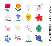 famous flower icons set 1 | Shutterstock .eps vector #354714929