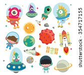 cute kids space vector... | Shutterstock .eps vector #354717155