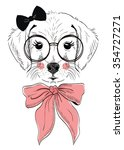 cute dog illustration with bow | Shutterstock .eps vector #354727271