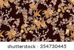 floral batik able repeat for... | Shutterstock . vector #354730445