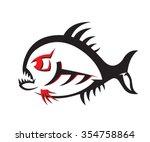 piranha illustration isolated... | Shutterstock .eps vector #354758864