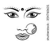 hand drawn face of an indian... | Shutterstock .eps vector #354760631