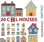 20 family cute houses. vector   Shutterstock .eps vector #35477017
