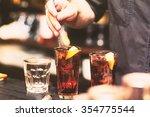 barman stir alcohol. process of ... | Shutterstock . vector #354775544