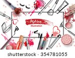 Cosmetics and fashion background with make up artist objects: lipstick, cream, brush.  With place for your text .Template Vector. | Shutterstock vector #354781055