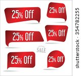 25 percent off red sticker... | Shutterstock .eps vector #354782255