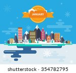 winter landscape. small town.... | Shutterstock .eps vector #354782795