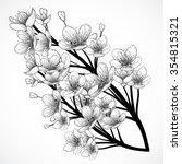 cherry tree blossom. vintage... | Shutterstock .eps vector #354815321