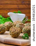 falafel with yogurt sauce | Shutterstock . vector #354816521
