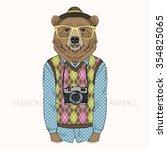 fashion illustration of bear... | Shutterstock .eps vector #354825065