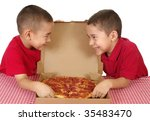 six and seven year old boys... | Shutterstock . vector #35483470