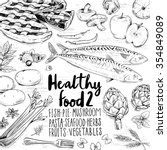 hand drawn healthy food doodles | Shutterstock .eps vector #354849089