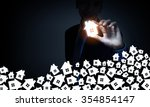 businessman on dark background... | Shutterstock . vector #354854147