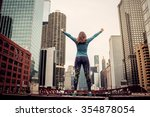 success. woman standing on the...   Shutterstock . vector #354878054