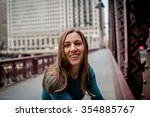young smiling woman.city... | Shutterstock . vector #354885767