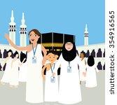 family haj hajj pilgrim man...   Shutterstock .eps vector #354916565