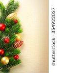 christmas fir tree branches... | Shutterstock . vector #354922037
