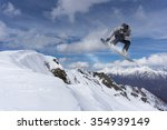 flying snowboarder on mountains.... | Shutterstock . vector #354939149