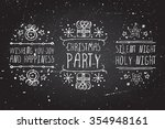 handdrawn christmas badges with ... | Shutterstock .eps vector #354948161