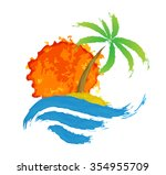 tropical palm on island with... | Shutterstock . vector #354955709