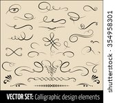 vector set of calligraphic and... | Shutterstock .eps vector #354958301