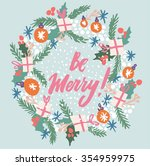 hand drawn elegant new year and ... | Shutterstock .eps vector #354959975