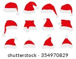santa claus red hat set. santa... | Shutterstock .eps vector #354970829