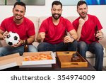 group of three male friends... | Shutterstock . vector #354974009