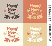 vintage happy new year | Shutterstock .eps vector #354995699